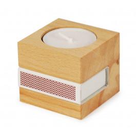 Teelicht aus Holz mit Streichholz